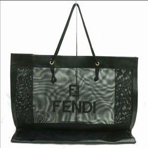 Fendi XL AUTHENTIC See Through Mesh FF Logo Tote